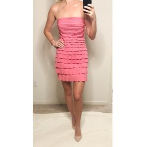 Express Dresses - Express pink ruffle tiered strapless dress
